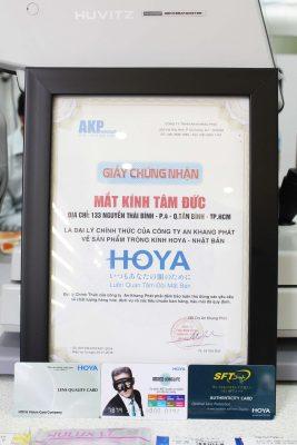 Giấy chứng nhận đại lý tròng kính Hoya chính hãng