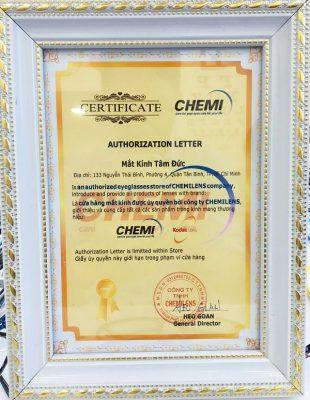 Giấy chứng nhận đại lý tròng kính Chemi chính hãng