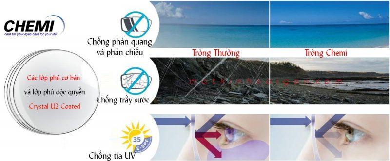 Tròng kính chemi crystal u2 coated bảo vệ tuyệt đối cho đôi mắt của bạn